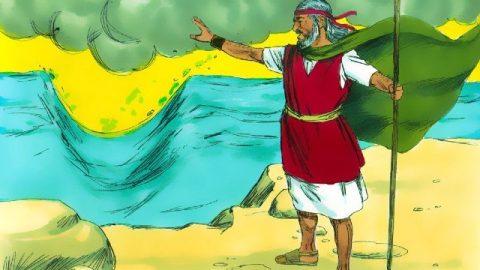 Storie della Bibbia Mosè colpì la roccia e separò le acque