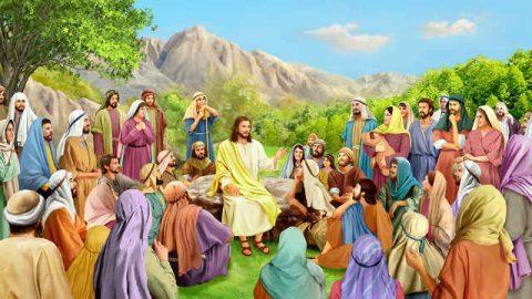 Gesù,discepoli,credente,sermone,nuvole,sole,luce