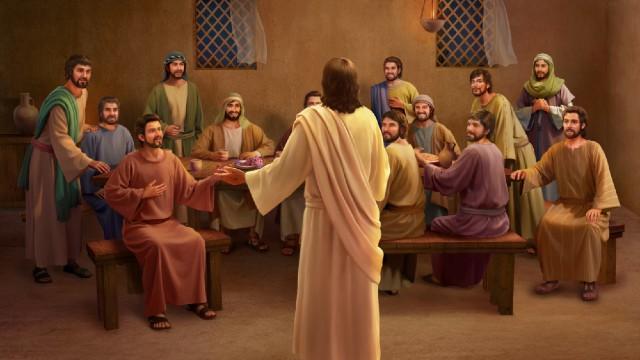 Gesù mangia del pane e spiega le Scritture dopo la Sua resurrezione