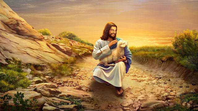 Il Signore Gesù abbraccia l'agnello smarrito