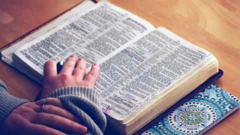 Sta leggendo la bibbia con il cuore.