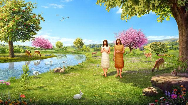 Adamo ed Eva vissero nel giardino dell'Eden fatto da Dio.