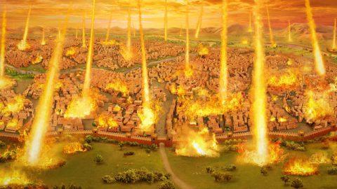 Dio distrugge Sodoma con il fuoco