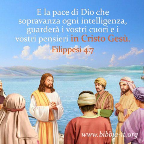 Gesù e i suoi discepoli che pregano in riva al mare