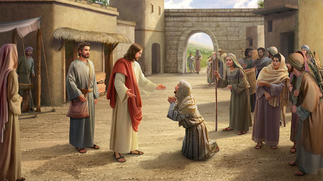 Gesù e i suoi discepoli per la strada, incontra il cieco