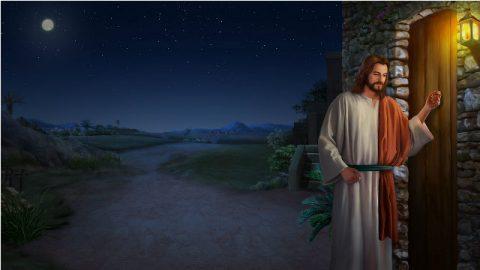 Signore Gesù bussando salla porta