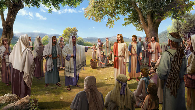 Farisei e Gesù e discepoli