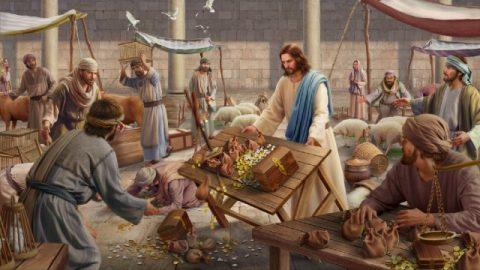 Il Signore Gesù purifica il tempio rovescia il tavolo
