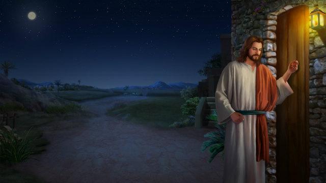 Signore Gesù bussando alla porta