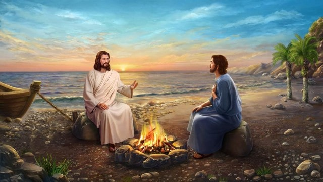 Il Signore Gesù e Pietro sono al mare
