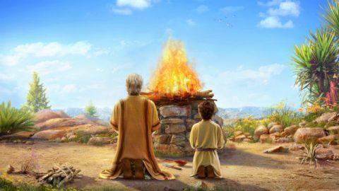 Abramo e Isacco sono di fronte all'altare