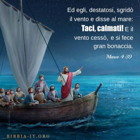 Il Signore Gesù calma il vento e il mare
