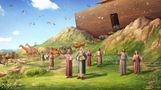 Gli otto membri della famiglia di Noè scendono dall'arca