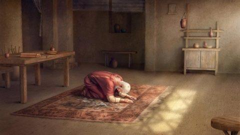 Giobbe si prostra a Dio nella preghiera