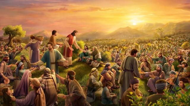 Gesù sfamava cinquemila persone con cinque pani e due pesci