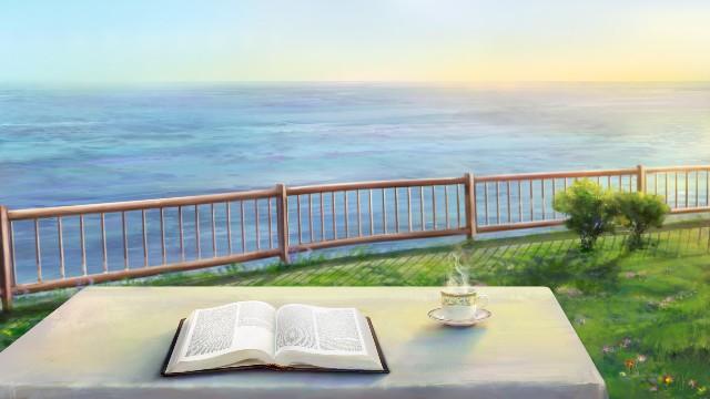 Leggere la Bibbia al mare