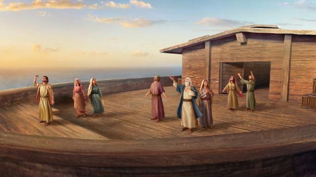 La famiglia di Noè loda Dio